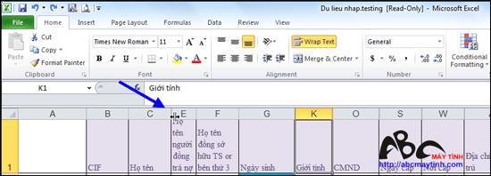 Hiện cột Excel đã ẩn