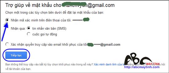Lấy lại mật khẩu Gmail bằng tin nhắn SMS