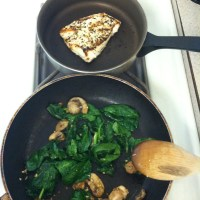 Spinach, Mushroom & Garlic Couscous with Grilled Chicken