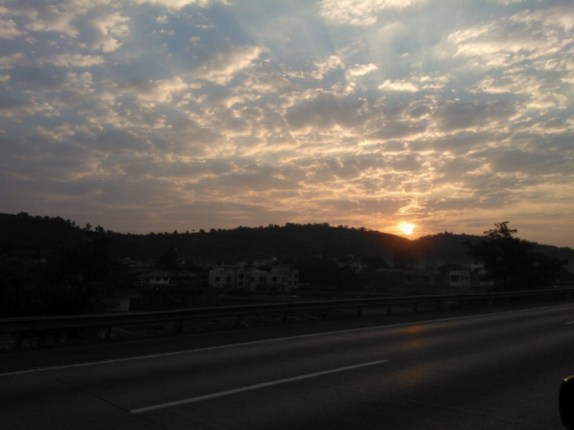 Beautiful sunrise on the Mumbai - Pune expressway