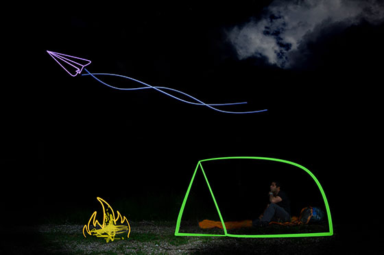 Chilterns microadventure light painting fun