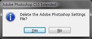 Deleting Photoshop Settings File