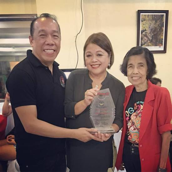 A 2010 posthumous award given to my dad, Joe P. Lardizabal, who was one of the original Sinulog Foundation's board members (board of trustees). To the left is Ricky Ballesteros, Executive Director of the ExecCom, Sinulog 2016, and to the right is one of the original volunteers since 1981, Dolores Suzara, project director (festival director) of the Sinulog Foundation, Inc. My sister, Lorna Lardizabal-Dietz, received the award in behalf of my family