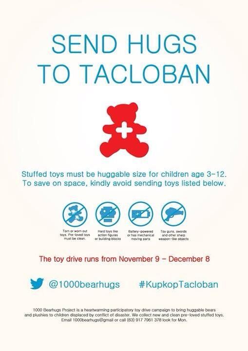 send hugs to tacloban