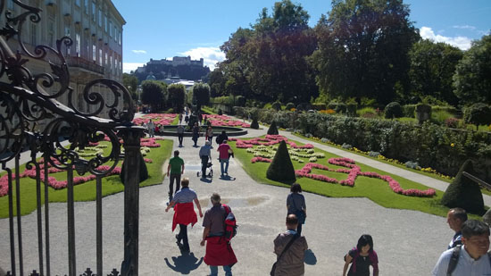 mirabell gardens with tourists