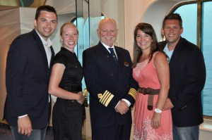 Pictured here with our wonderful wives… and The Captain. Lance and Sarah on left, Katherine and Bobby on the right.