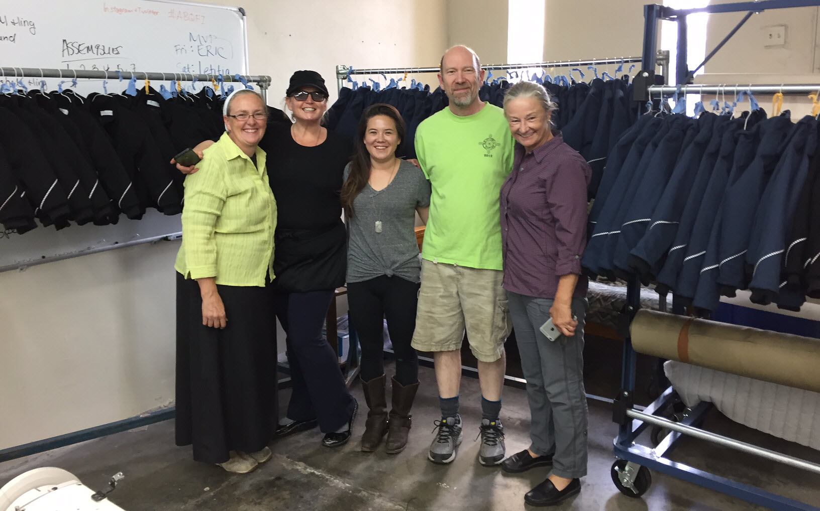 The late team L-R: Faith, Susan, Jamie, Eric and Jane. This is what 100 coats look like.
