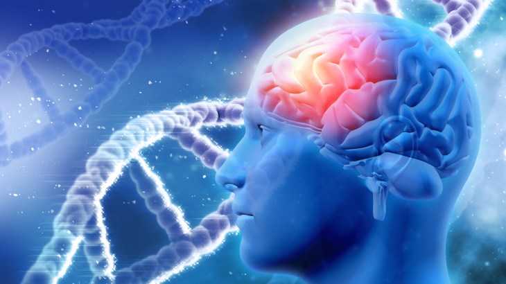 3D medical background with male head with brain and DNA strands