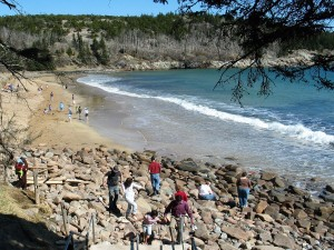 Sand Beach in Acadia National Park in spring