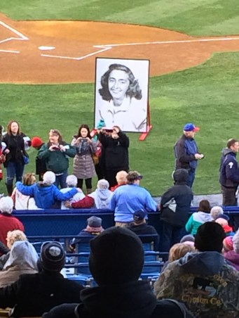 Former players from the All-American Girl's Baseball League pose for photos after Ruth Hartman's Reading Baseball Hall of Fame induction on April 10, 2016. Photo by Ariane Cain.