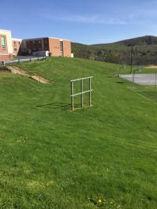 The empty scoreboard frame at Exeter's varsity softball field. (Photo: Ariane Cain)