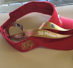 The 50th Phillies season in Reading is commemorated on employees' lanyards and hats. Photo by Ariane Cain.