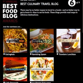 Honored to be Nominated for Best Culinary Travel Blog in Saveur's 1st Annual Best Food Blog Awards