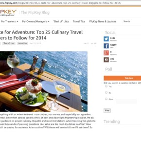 Accidental Epicurean is Named in Top 25 Culinary Travel Blog Award by Flipkey