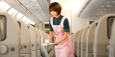 hello kitty jet plane eva airlines flight attendant