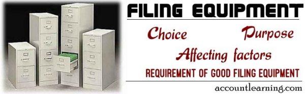 Filing Equipment - Choice, Purpose, Affecting factors, Requirement of good filing equipment
