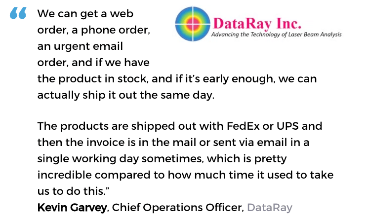 Acctivate inventory management & order fulfillment software user, DataRay