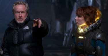 Ridley Scott and Noomi Rapace on the set of