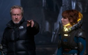 Ridley Scott and Noomi Rapace on the set of Prometheus
