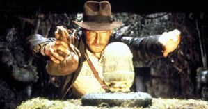Indiana Jones (Harrison Ford) taking the golden idol