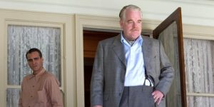 Joaquin Phoenix as Freddie and Phillip Seymour Hoffman as Lancaster Dodd in The Master