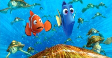Marlin and Dory run into a school of turtles
