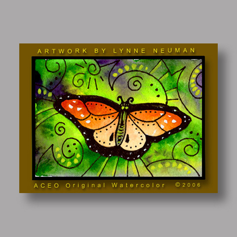 Signed ACEO *Orange Butterfly #247* by Lynne Neuman