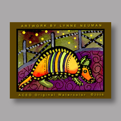 Signed ACEO *Texas Armadillo #393* by Lynne Neuman