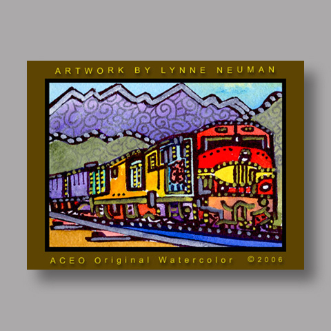 Signed ACEO *Freight Train #514* by Lynne Neuman