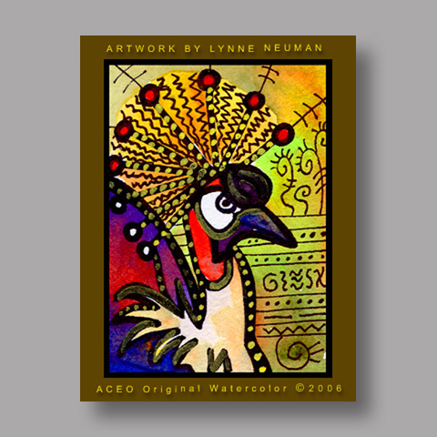Signed ACEO *Exotic Bird #529* by Lynne Neuman