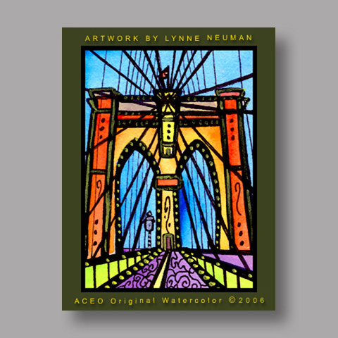 Signed ACEO *Brooklyn Bridge NY #633* by Lynne Neuman