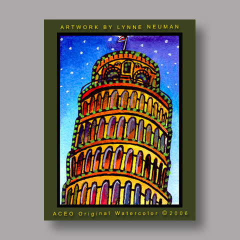 Signed ACEO *Leaning Tower of Pisa #0660* by Lynne Neuman