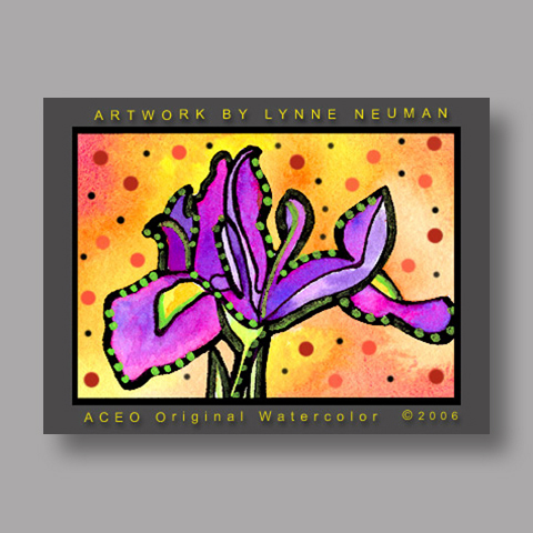 Signed ACEO *Purple Iris Flower #0665* by Lynne Neuman