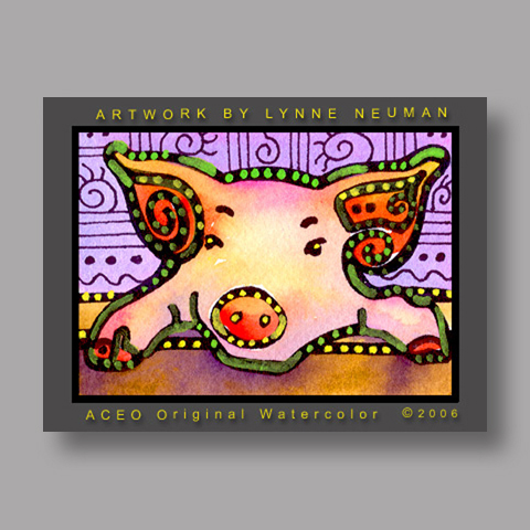 Signed ACEO *Pink Pig #725* by Lynne Neuman
