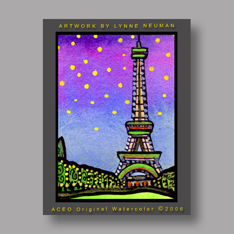 Signed ACEO *Eiffel Tower Paris #749* by Lynne Neuman