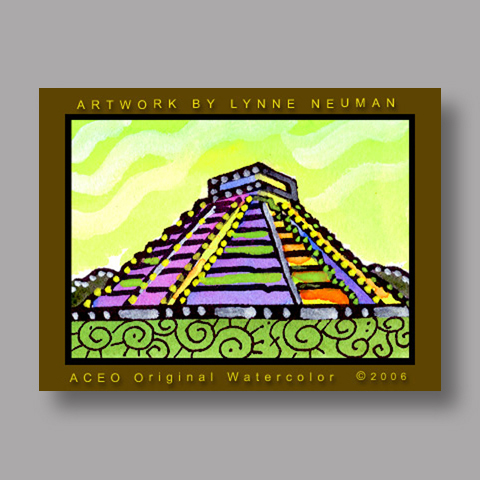 Signed ACEO *Mayan Ruins Mexico #819* by Lynne Neuman
