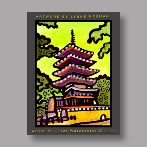 Signed ACEO *Kofukuj Temple Nara Japan #1118* by Lynne Neuman