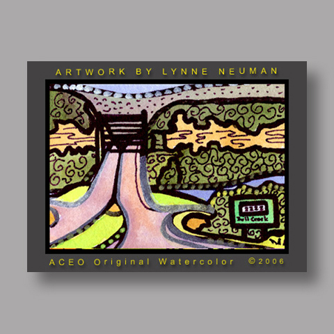 Signed ACEO *360 Bridge Austin Texas #1273* by Lynne Neuman