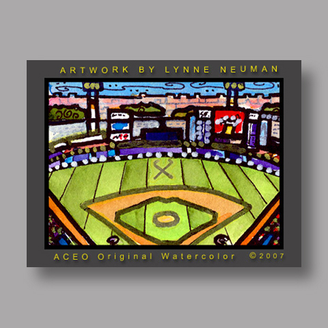 Signed ACEO *Shea Stadium New York #1356* by Lynne Neuman