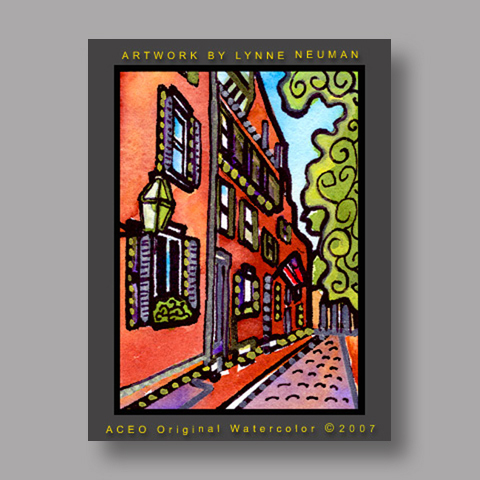 Signed ACEO *Beacon Hill Boston #1358* by Lynne Neuman