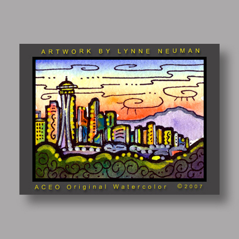 Signed ACEO *Seattle Skyline #1607* by Lynne Neuman