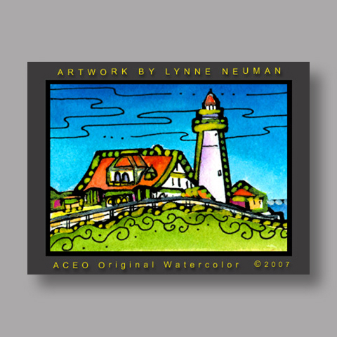 Signed ACEO *Portland Lighthouse Maine #1832* by Lynne Neuman