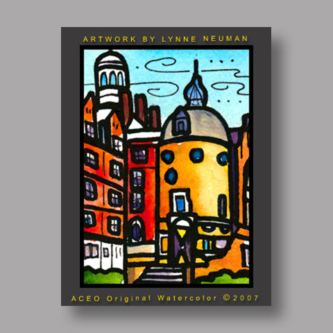 Signed ACEO *Harvard Lampoon Castle #1843* by Lynne Neuman
