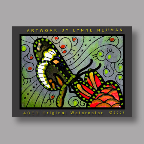 Signed ACEO *Butterfly Flower #1917* by Lynne Neuman