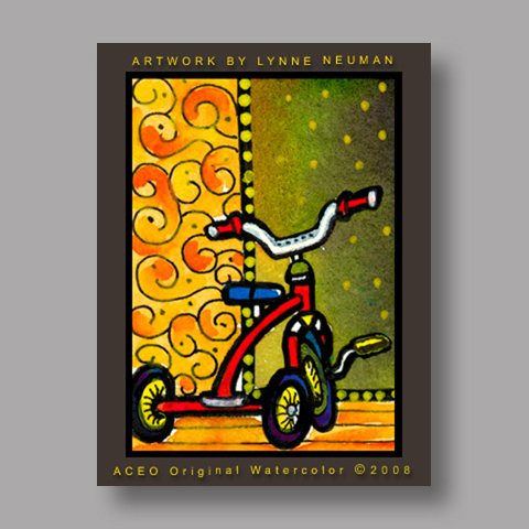 Signed ACEO *Children's Tricycle #2062* by Lynne Neuman