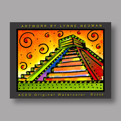 Signed ACEO *Mayan Ruins Mexico #2079* by Lynne Neuman