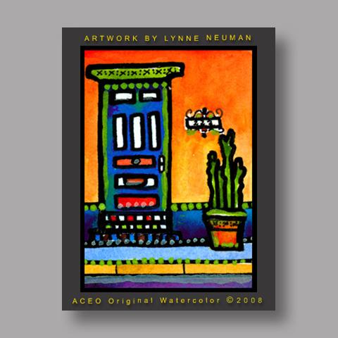 Signed ACEO *Santa Fe New Mexico Doorway #2189* by Lynne Neuman