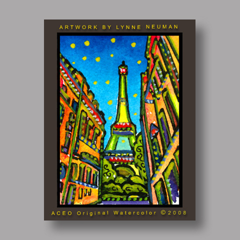 Signed ACEO *Eiffel Tower Paris France #2396* by Lynne Neuman