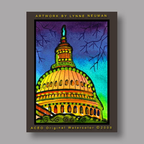 Signed ACEO *U.S. Capitol Washington #2527* by Lynne Neuman