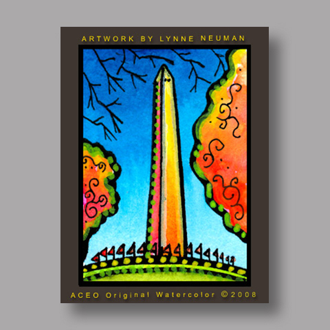 Signed ACEO *Washington Monument #2587* by Lynne Neuman